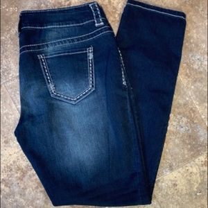 Maurices Jeans 33 inseam 16 inch waist laying flat